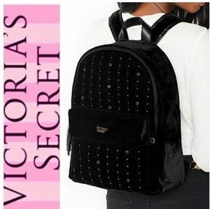 Victoria's Secret Black Velvet Studded Backpack